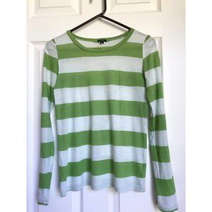 J.Crew Green + Mint Stripe Tissue Long Sleeve Tee